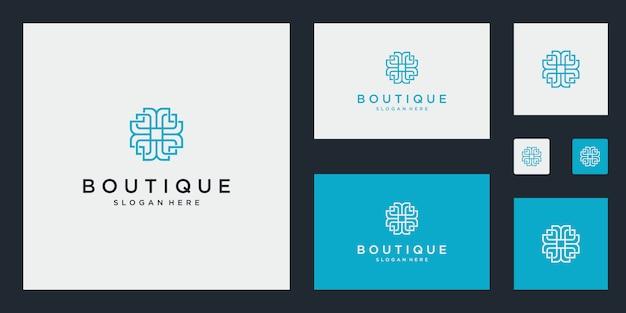 Conjunto de logotipo simples e elegante monograma floral