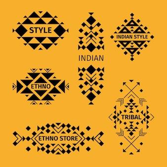 Conjunto de logotipo tribal. estilo étnico asiático indiano. ilustração vetorial.