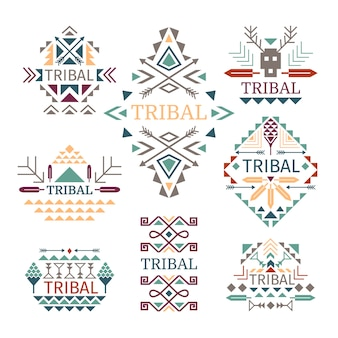 Conjunto de logotipo tribal. vector colorido indiano cultura algodão vestido desenhos, natividade e tribo sinais isolados