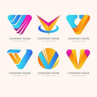 Conjunto de logotipo v criativo detalhado