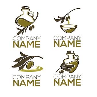 Conjunto de logotipo verde-oliva, folhas, garrafas e óleo