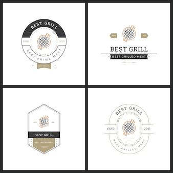 Conjunto de logotipo vetorial barbaque