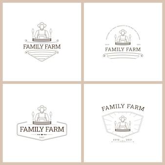 Conjunto de logotipo vetorial de emblema de fazenda