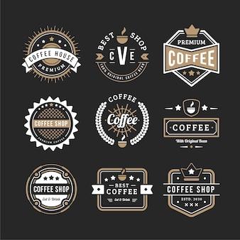 Conjunto de logotipo vintage café