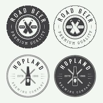 Conjunto de logotipo vintage cerveja e pub