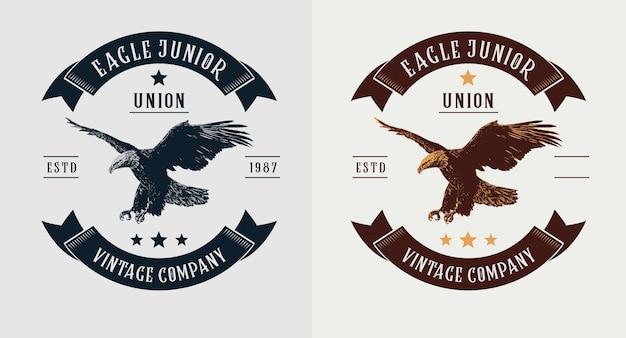 Conjunto de logotipo vintage de águia