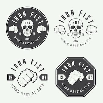 Conjunto de logotipo vintage de artes marciais mistas