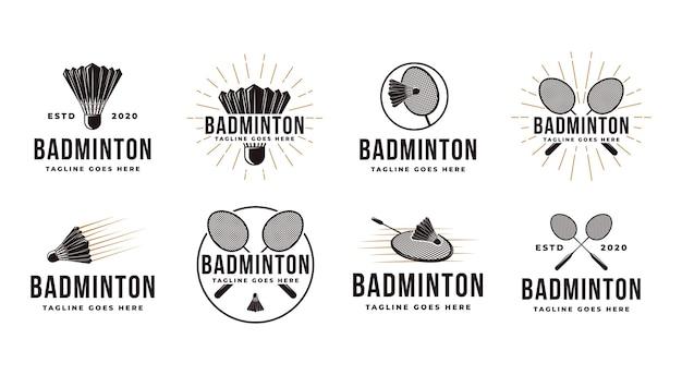 Conjunto de logotipo vintage de badminton com peteca e raquete