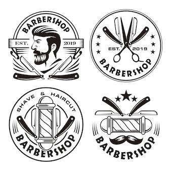 Conjunto de logotipo vintage de barbearia