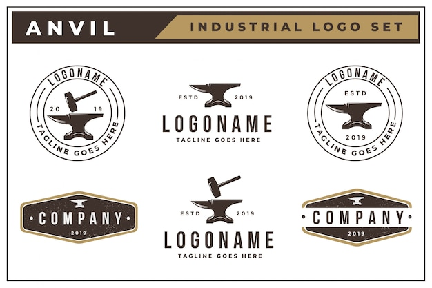 Conjunto de logotipo vintage de bigorna