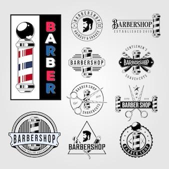 Conjunto de logotipo vintage de corte de cabelo de barbearia