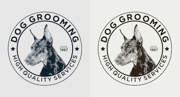 Conjunto de logotipo vintage de cuidados com o cão