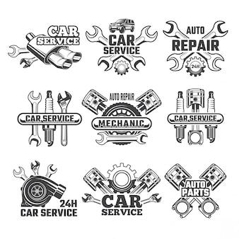 Conjunto de logotipo vintage de ferramentas automobilísticas