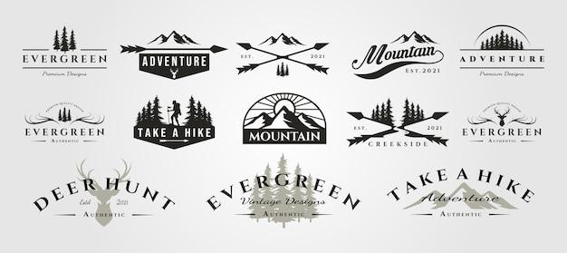Conjunto de logotipo vintage de montanha aventura ao ar livre