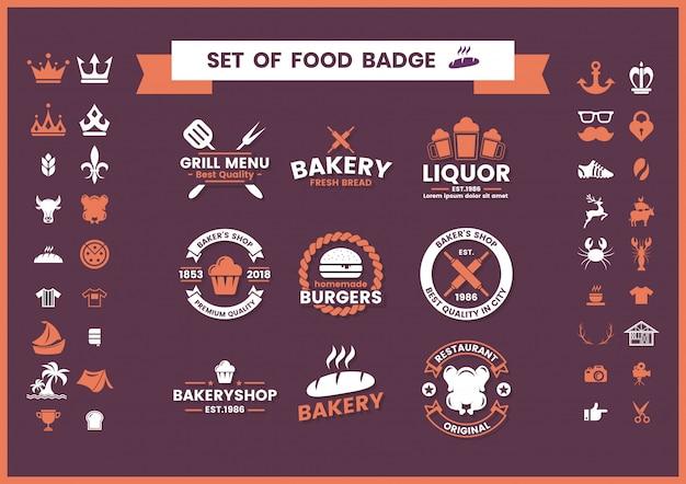 Conjunto de logotipo vintage de restaurante