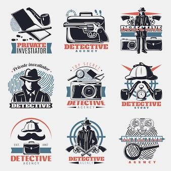 Conjunto de logotipo vintage detetive