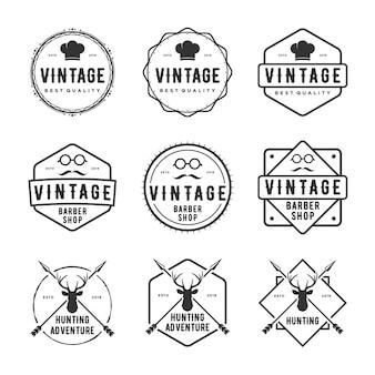 Conjunto de logotipo vintage, restaurante, barbearia, animais selvagens