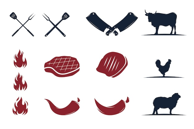Conjunto de logotipo vintage retrô grill churrasco