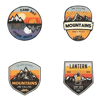 Conjunto de logotipos ao ar livre