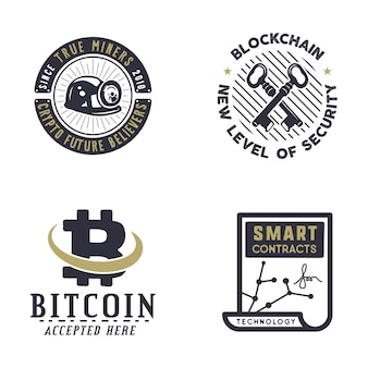 Conjunto de logotipos bitcoins