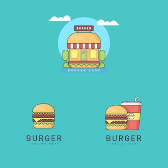 Conjunto de logotipos burger