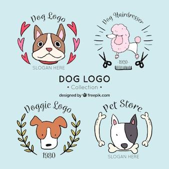 Conjunto de logotipos cão fantástico em estilo desenhado à mão