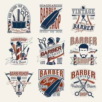 Conjunto de logotipos coloridos de barbearia vintage