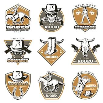Conjunto de logotipos coloridos de rodeio vintage