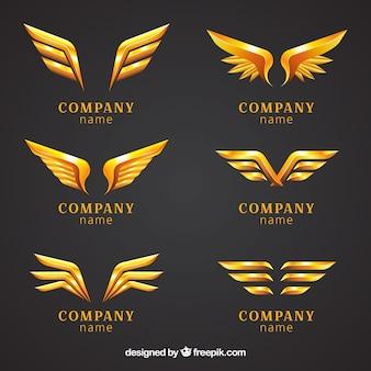 Conjunto de logotipos com asas douradas