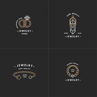 Conjunto de logotipos com colar e pedras preciosas, alianças e pulseira