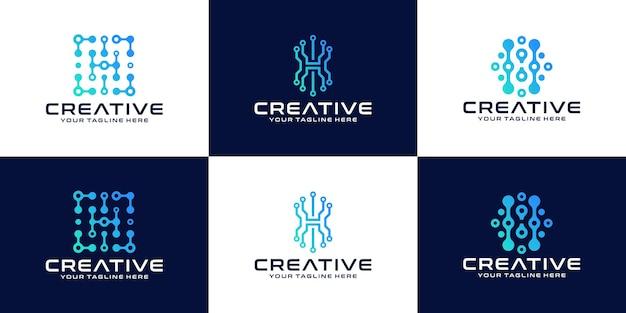 Conjunto de logotipos com letra h inicial para empresas e negócios de tecnologia