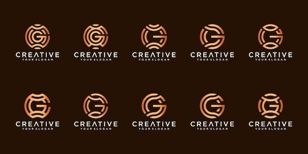 Conjunto de logotipos criativos com a letra g