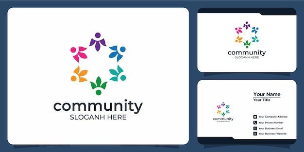 Conjunto de logotipos criativos de grupos sociais e cartões de visita