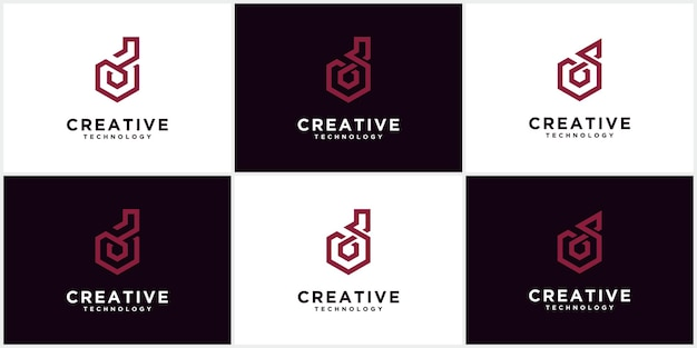 Conjunto de logotipos d início do monograma do espaço negativo letras criativas e minimalistas, d ícones de design de logotipo editáveis em formato