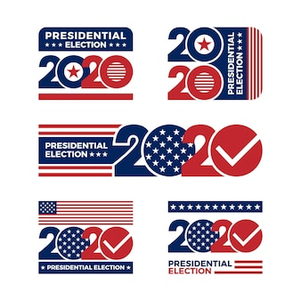 Conjunto de logotipos da eleição presidencial dos eua em 2020
