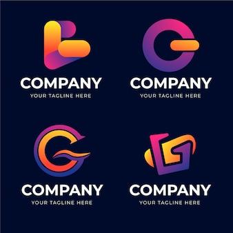 Conjunto de logotipos da letra g gradiente