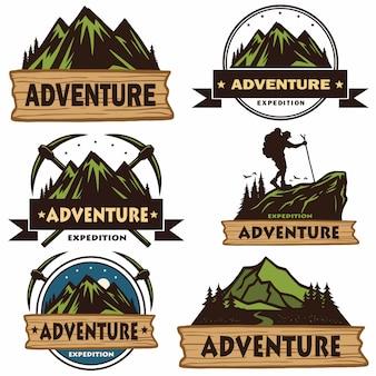 Conjunto de logotipos de acampamento
