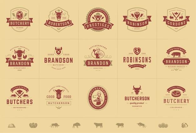 Conjunto de logotipos de açougue