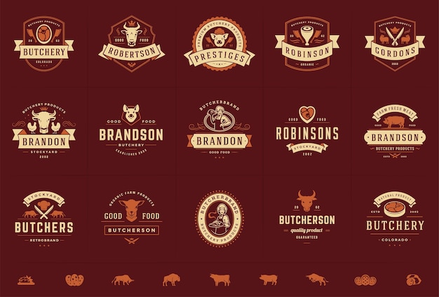 Conjunto de logotipos de açougueiro, bom para emblemas de fazenda ou restaurante com animais e silhuetas de carne