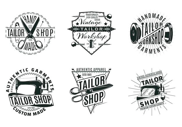 Conjunto de logotipos de alfaiataria vintage monocromático