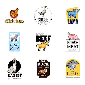 Conjunto de logotipos de alimentos