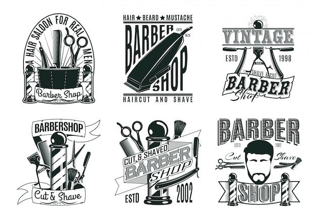 Conjunto de logotipos de barbearia vintage monocromático
