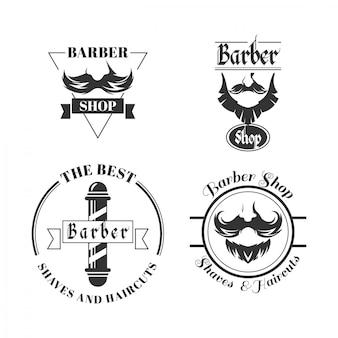 Conjunto de logotipos de barbearia