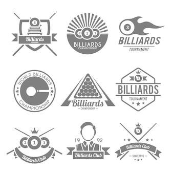Conjunto de logotipos de bilhar