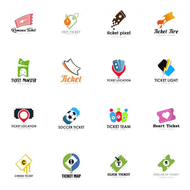 Conjunto de logotipos de bilhetes