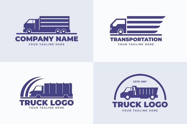 Conjunto de logotipos de caminhões de design plano
