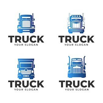 Conjunto de logotipos de caminhões em gradiente