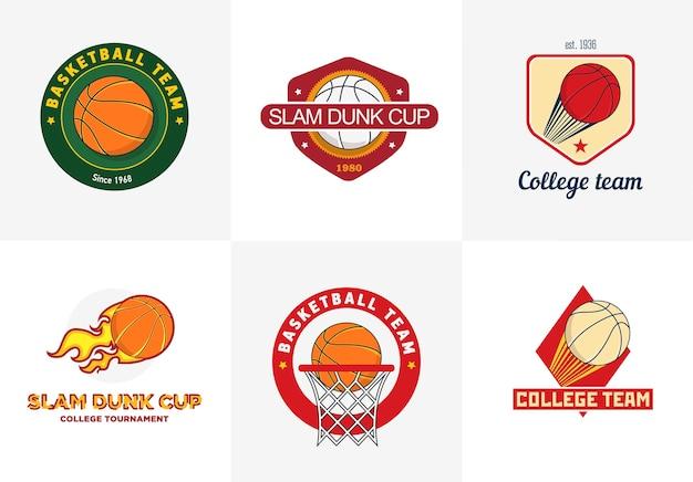 Conjunto de logotipos de campeonato de basquetebol de cor vintage