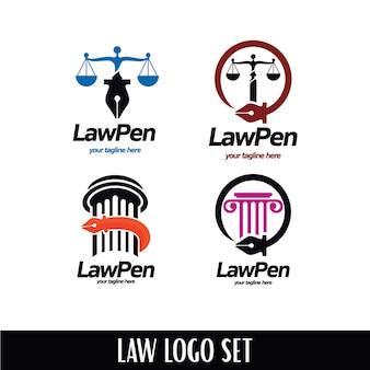 Conjunto de logotipos de caneta de lei
