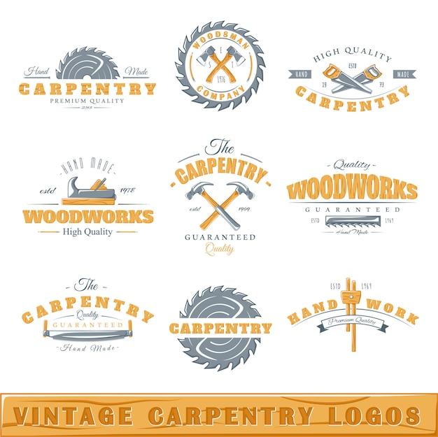 Conjunto de logotipos de carpintaria vintage